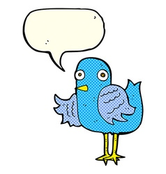 Cartoon bird waving wing with speech bubble vector