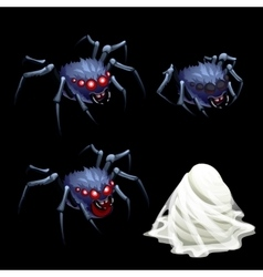 Three spider with red eyes and a cocoon web vector