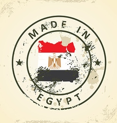 Stamp with map flag of egypt vector