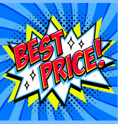 best price - comic book style word on a blue vector image vector image