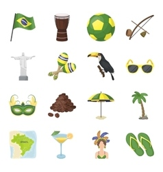 Brazil country set icons in cartoon style big vector