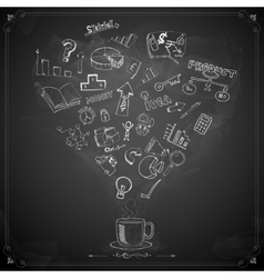 Business Doodle on Chalkboard vector image