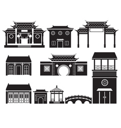 China Building Mono Objects Set vector image vector image