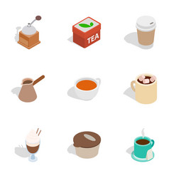 Coffee shop icons isometric 3d style vector