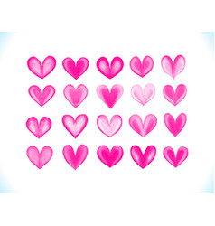 Colorful watercolor pink hearts se vector