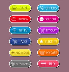 colorful website web e-shop buttons design vector image