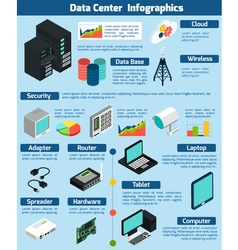Data center isometric infographics vector