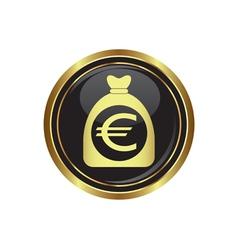 euro in bag icon button gold copy vector image vector image