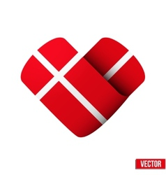Flag icon in the form of heart I love Denmark vector image vector image