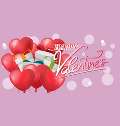 Gift red heart balloon background vector