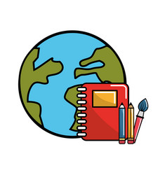 Global planet with rings notebook and school tools vector