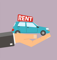 hands hold car for rent buying or rent car vector image vector image