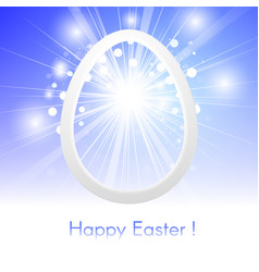 happy easter with easter egg on blue sky with rays vector image vector image