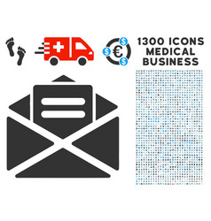 mail icon with 1300 medical business icons vector image