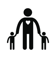 Man with two children silhouette icon vector