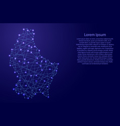 Map of luxembourg from polygonal blue lines vector