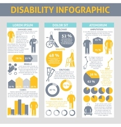 People with disabilities infographic set vector
