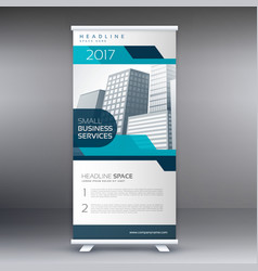 roll up banner flyer standee design in blue color vector image vector image