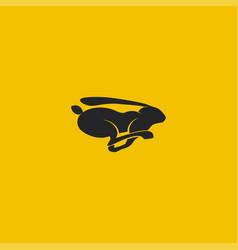 running black rabbit logo vector image