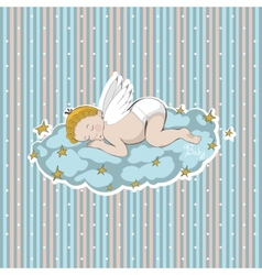 Sleeping angel on a cloud with stars vector