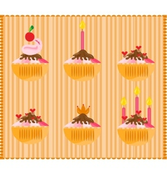 Sweets on striped background vector