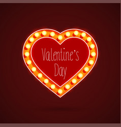Valentines day heart with light bulbs vector