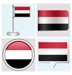 Yemen flag - sticker button label flagstaff vector image vector image