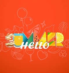 Hello summer vacation concept colorful letters on vector