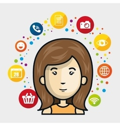Woman avatar and social media design vector
