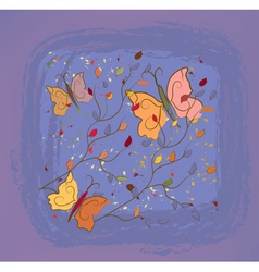 Vintage autumn floral background vector image