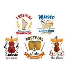 Emblems for classic live music festival concert vector