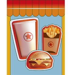 Grunge cover for fast food menu vector