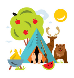 Hunting concept flat style colorful vector