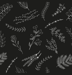 seamless pattern with white sketch flowers vector image