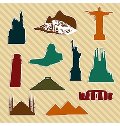 World landmark silhouettes vector