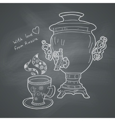 Russian samovar and cup vector