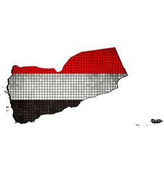 Yemen map with flag inside vector
