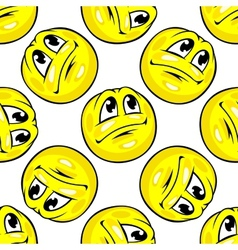 Cartoon yellow emoticons seamless pattern vector