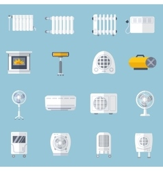 Heating And Cooling Flat Set vector image