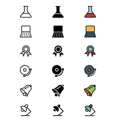 Education outline filled and colored icons 5 vector