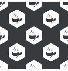 Black hexagon hot soup pattern vector