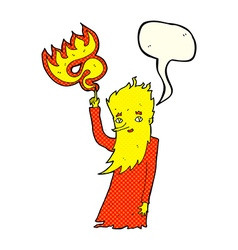 Cartoon fire spirit with speech bubble vector