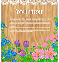 Wooden banner with flowers text vector image