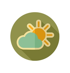 Sun and cloud retro flat icon weather vector