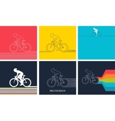 Cyclists on bikes set isolated d vector