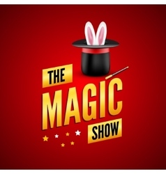 Magic poster design template Magician logo vector image