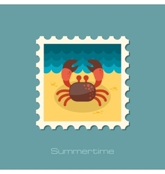 Crab stamp summer vacation vector