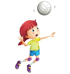 A girl playing volleyball vector