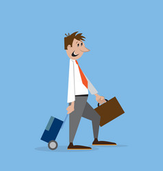 a man walks with suitcase vector image vector image