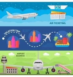 Air Travel Horizontal Banners Set vector image vector image